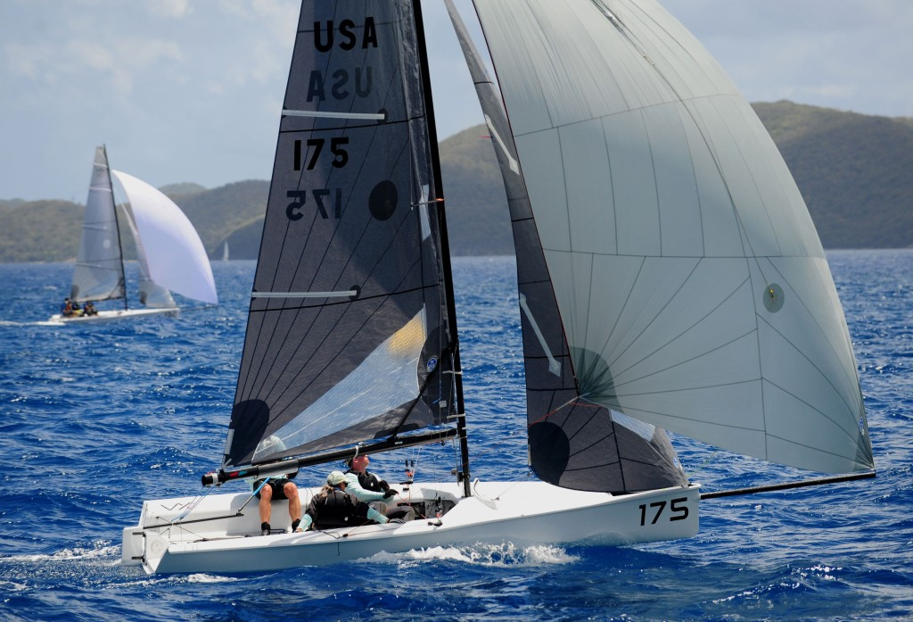 A fleet of 11 VX One boats competed in the BVI Spring Regatta and Jeff Eiber's This Side Down from USA win class and the first VX One Caribbean Cup © Todd VanSickle/BVI Spring Regatta