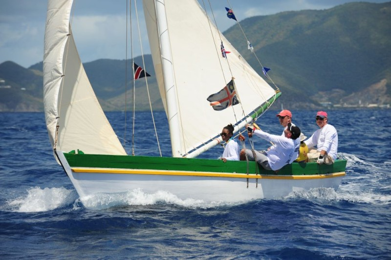On board Tortola Sloop, Youth Instructor: John S. Duncan OBE, Governor of the British Virgin Islands and  President of VP Bank, Sjoerd Koster  © Todd vanSickle/BVI Spring Regatta