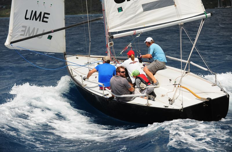Totola's Colin Rathbun at the helm of IC 24 winner Tortola Express (Photo: Todd VanSickle)