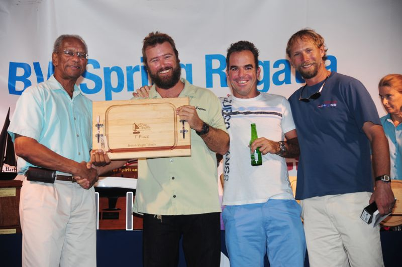 Colin Rathbun and crew on Tortola Express (IC 24) presented Best BVI Boat award by British Virgin Islands Premier Dr. the Honourable D. Orlando Smith (Photo: Todd VanSickle)