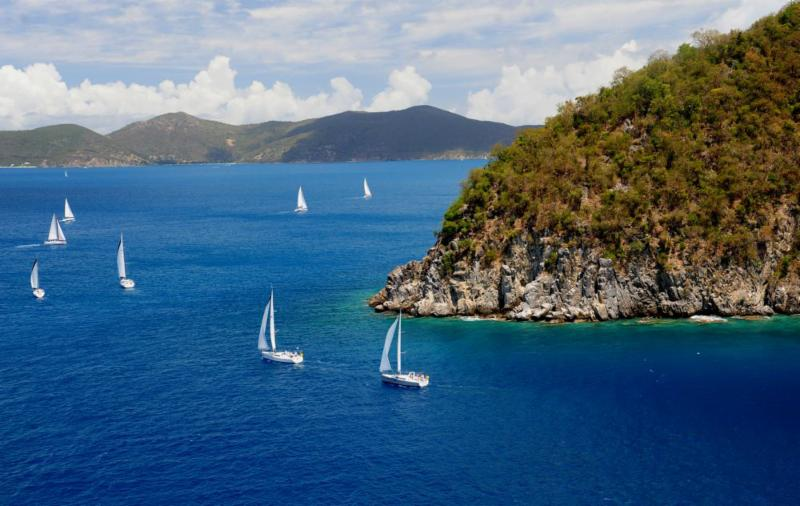 Stunning conditions for the bareboat fleets and all the BVI Spring Regatta sailors today © Todd VanSickle/BVI Spring Regatta