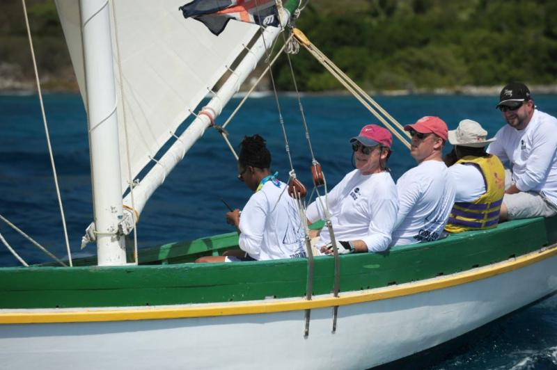 Enjoying racing on Youth Instructor: Governor John H Duncan OBE and VP Bank President, Sjoerd Koster  © Todd vanSickle.BVI Spring Regatta