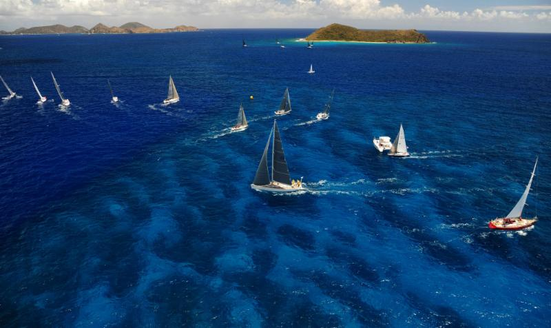 Beautiful in blue - racing in the stunning waters of the British Virgin Islands on the penultimate day of the 2015 BVI Spring Regatta © Todd VanSickle/BVI Spring Regatta