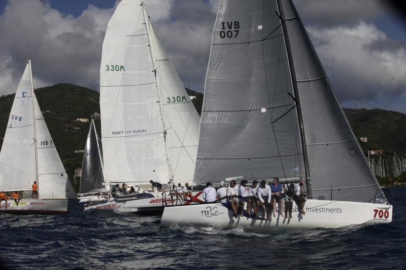 The Royal BVI Yacht Club's Mark Plaxton competing on his Melges 32 INTAC in the 2012 Round Tortola Race