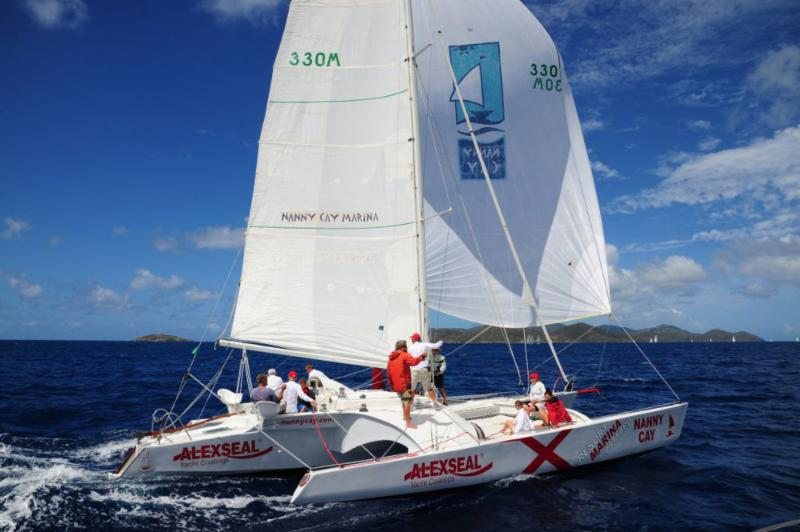 Ryan Wooldridge's trimaran, Triple Jack with Nanny Cay Chairman on board, Cameron McColl lead CSA Multihull 1  © Todd VanSickle/BVI Spring Regatta