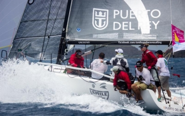 Jaime Torres' Puerto Rican Melges 32, Smile and Wave. Wet and wild conditions on day one of the BVI Spring Regatta © Luke Pelican/BVI Spring Regatta