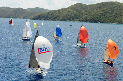 Racing in the Sir Francis Drake Channel on the last day of the 41st BVI Spring Regatta & Sailing Festival Credit: ©Todd VanSickle/BVI Spring Regatta & Sailing Festival