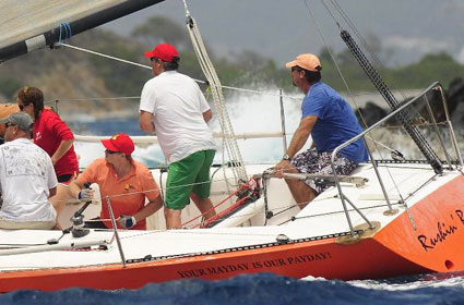 Winners of the Premier's Cup for the Best BVI Boat - Rushin' Rowlette, Kevin Rowlette's Olsen 30 Credit: ©Todd VanSickle/BVI Spring Regatta & Sailing Festival