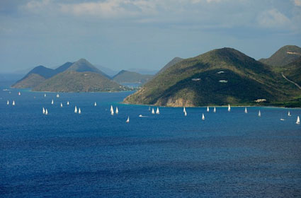 Spectacular scenery on the race course at the BVI Spring Regatta & Sailing Festival where warm water and hot racing are guaranteed! Credit: ©Todd VanSickle/BVI Spring Regatta & Sailing Festival