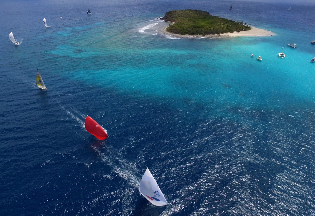 Racing on the second day of the BVI Spring Regatta in perfect conditions as CSA Racing 2 round Sandy Cay © Todd VanSickle/BVI Spring Regatta
