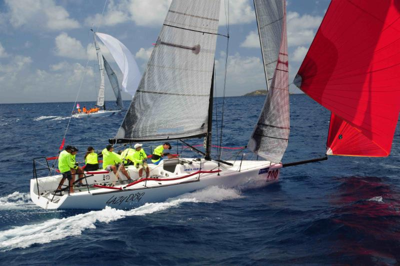 A superb day for the Melges 32s. Sergio Sagramoso's Puerto Rican Lazy Dog and Jaime Torres' Smile and Wave enjoy perfect racing conditions © Todd VanSickle/BVI Spring Regatta
