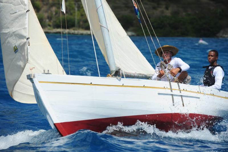 Thad Lettsome, youngest sailor racing in the VP Bank Tortola Sloop Spring Challenge at the BVI Spring Regatta  © Todd vanSickle.BVI Spring Regatta