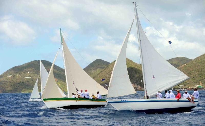 Used in the 19th century as the only means of transportation between the Virgin Islands, sloops were the backbone for BVI economy for over 100 years. Today four sloops raced in the VP Bank Tortola Sloop Spring Challenge on Maritime Heritage Day at the BVI Spring Regatta  © Todd vanSickle.BVI Spring Regatta