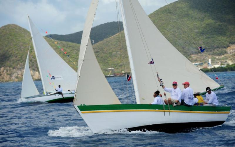Governor John S. Duncan races on the one of the traditional island sloops Photo: Todd vanSickle.BVI Spring Regatta